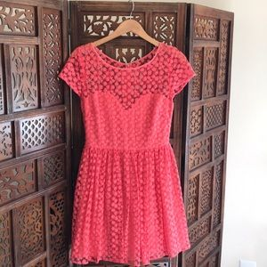 Anthropologie Artelier Coral Lace Dress size 6